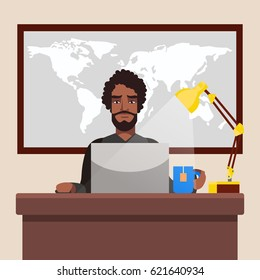 African American Businessman Working in The Office, Vector Illustration