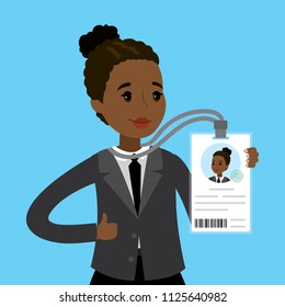 African american businesswoman or office worker holding badge with id,photo and qr code,Flkat Vector illustration