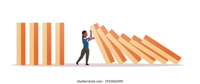african american businesswoman stopping domino effect crisis management chain reaction finance intervention conflict prevention concept horizontal full length vector illustration