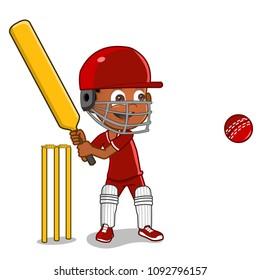 African american cartoon boy playing cricket