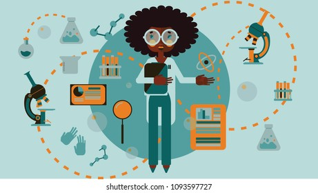African american chemistry science woman infographic flat style vector