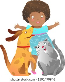 African American child Girl with cat and dog playing together happy friends. Friends forever a girl and a puppy dog cat child clip art cartoon kids graphic.