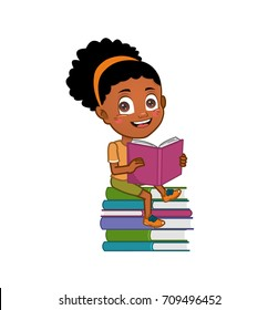 African american child reading