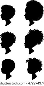 African American Children Profile Silhouettes - Vector Illustration