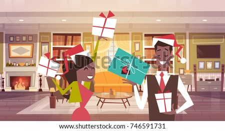 African American Couple Santa Hats Holding Stock Vector Royalty