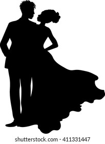 African American - Couple Silhouette - Vector Illustration