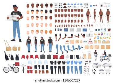 African American delivery boy constructor. Collection of male character body parts in different postures, uniform isolated on white background. Front, side and back views. Cartoon vector illustration