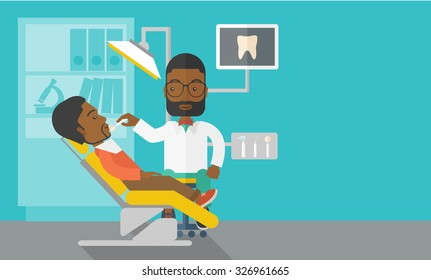 An African American dentist man examines a patient teeth in the clinic vector flat design illustration. Horizontal layout with a text space for a social media post.
