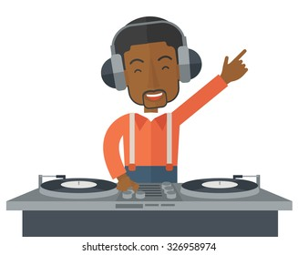 An African American DJ wearing headphones with hand up playing vinyl vector flat design illustration isolated on white background. Horizontal layout.