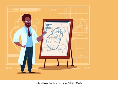 African American Doctor Cardiologist Over Flip Chart With Heart Medical Clinics Worker Hospital Flat Vector Illustration