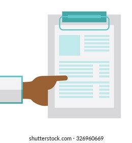An African American doctor hand holding medical notepad vector flat design illustration isolated on white background. Square layout.