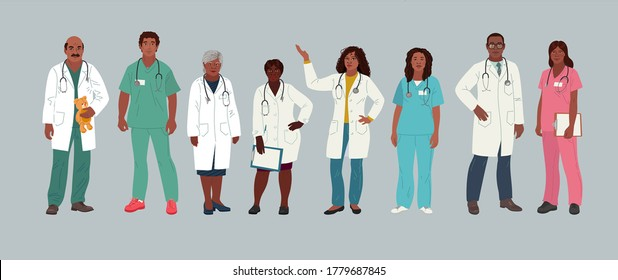 African American Doctor and Nurse. Medical people profession modern vector flat illustration. Doctor and hospital staff cartoon characters. Group man and woman medical workers