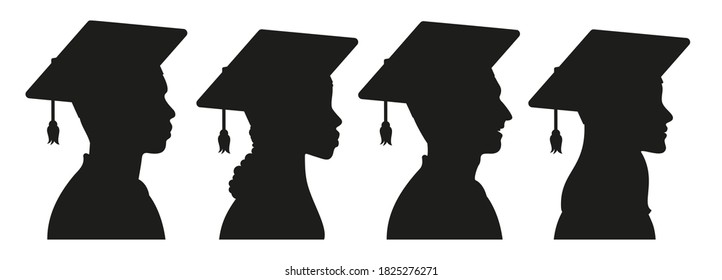 African, American, European college girls and boys - students, university graduates in graduation cap and gown silhouette avatar set. Commencement ceremony. Vector illustration.
