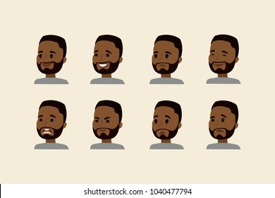 african american face with different emotions,avatar head,flat vector illustration