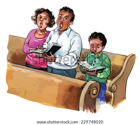 African American Family Attending Church Mass Stock Vektorgrafik