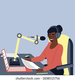 A African American female radio host is broadcasting in the studio. International Radio Day. Podcast is a modern format for presenting information. Flat vector illustration with place for text.