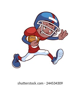 African American football player run with ball. Vector clip-art illustration on a white background.