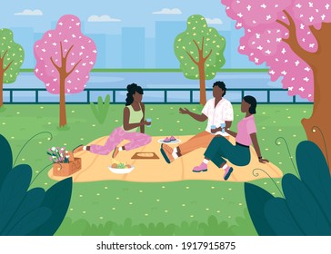 African american friend group on picnic flat color vector illustration. People chat while sitting on blanket. Spring outdoor recreation. Women and man 2D cartoon characters with skyline on background