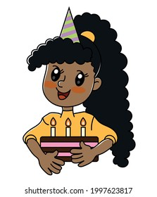 African American girl birthday cake holiday. Vector clip-art illustration on a white background. Cartoon character.
