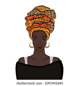 African American Girl. Black Woman with Turban Isolated on White Background. Vector Illustration