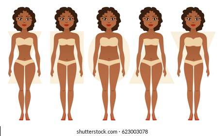 African American girl, body figures. Woman shapes, five types: hourglass, triangle, inverted triangle, rectangle, pear/rounded. Vector illustration.