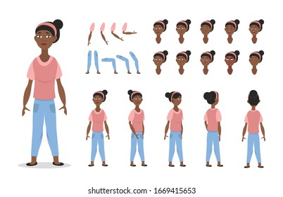 African American girl character constructor for animation with various views, poses, gestures, hairstyles and emotions. Cartoon Young girl, children parts of body ready to use poses. Vector