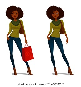 African American girl with natural hair in casual autumn outfit