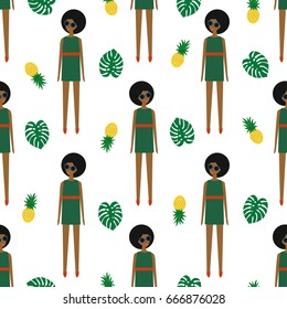 African american girl with pineapple and monstera seamless pattern on white background. Summer illustration with cute girl. Fashion design for textile, wallpaper, fabric, decor.