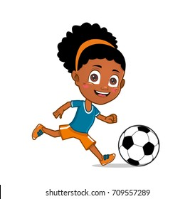 african american girl playing soccer