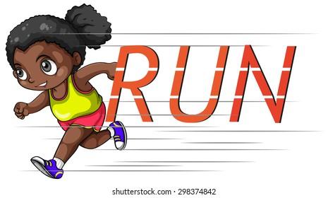 African american girl running alone