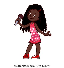 African American girl singing with microphone. Vector clip-art illustration on a white background. Cartoon character.