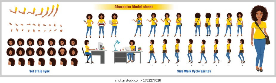African American Girl Student Character Design Model Sheet with walk cycle animation. Girl Character design. Front, side, back view and explainer animation poses. Character set with lip sync