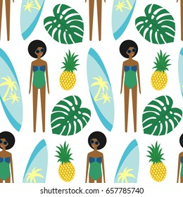 African american girl with surfboard and pineapple seamless pattern on white background. Summer illustration with cute girl in swimsuit. Fashion design for textile, wallpaper, fabric, decor.