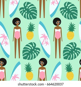 African american girl with surfboard and pineapple seamless pattern on mint green background. Summer illustration with cute girl in swimsuit. Fashion design for textile, wallpaper, fabric, decor.