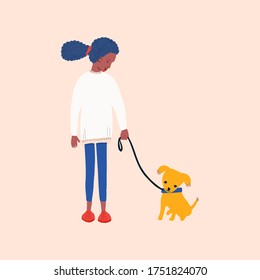 African american girl volunteering in animal shelter walking little puppy. Vector illustration for pet rescue promotional materials or website.