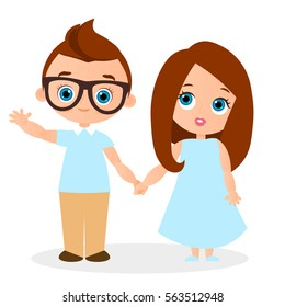 African American girl and young african american boy with glasses. Vector illustration eps 10 isolated on white background. Flat cartoon style.