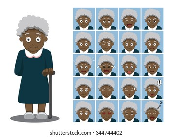 African American Grandma Cartoon Emotion faces Vector Illustration