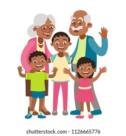 African american grandparents, grandson and two grandchildren portrait. Happy grandparents day concept. Vector illustration in cartoon style, isolated on white background.