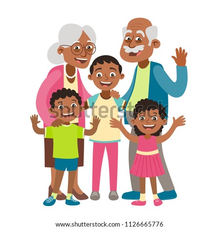 African American Grandparents Grandson Two Grandchildren ... Grandparents Family Clipart