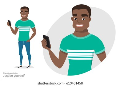 African American guy with a mobile phone in hand. A black man in Cartoon style. Tolerance in the society. Modern youth.