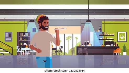 african american guy smoking marijuana joint rastaman relaxing with weed cigarette coffeeshop interior portrait horizontal vector illustration