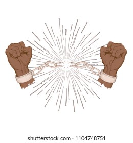 African American Independence Day, June 19. Freedom and liberation day. Raised hands breaking the chain, shackles. Hand drawn silhouette sketch style drawing on white background.