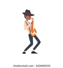 African American jazz musician playing saxophone vector Illustration