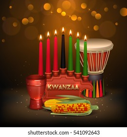 African american kwanzaa holiday celebration colorful festive background poster with kinara candles light and food vector illustration