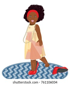 African American little girl with a pearl necklace and in her mother's red shoes
