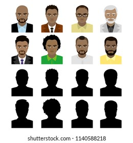 African american male avatars and black silhouette,isolated on white background,flat vector illustration