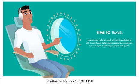 African American Man at Airplane Point Porthole. Tourist Journey. Happy Character Wear Headphone Listen Music at Aircraft. Comfortable Trip. Time to Travel. Flat Cartoon Vector Illustration