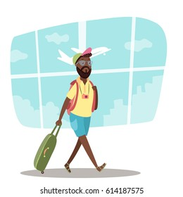 African American man in airport. Traveler with luggage on airplane background. Flat vector illustration of vacation. Arrival in terminal. Adult tourist in hat with bag walking to plane.