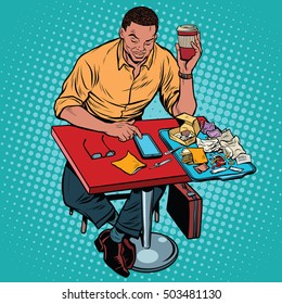 African American man eating at the restaurant fastfood and reads smartphone, pop art retro illustration