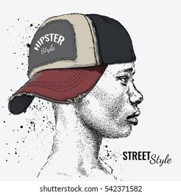African American man in Hand drawn baseball cap. Profile view. Hand draw vector illustration